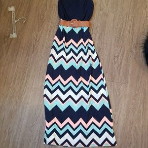 Rue 21 belted chevron maxi dress